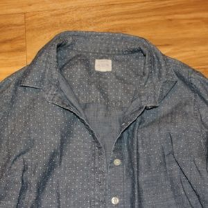 Women's J Crew Perfect Shirt Blue with White Dots